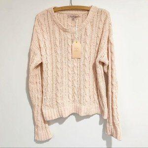 Love Tree Sweater Chenille Cable Knit Peach Medium